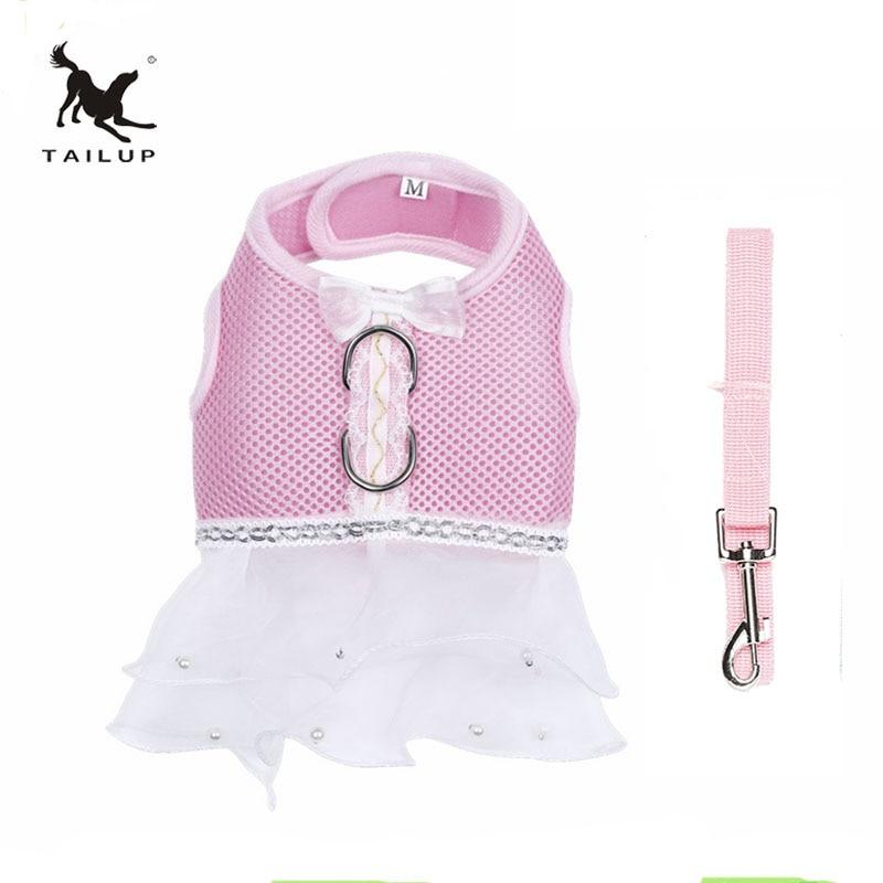 Tailup גבוהה סוף הכלב בגדים Chihuahua Yorkies Mesh שמלות נשף שיפון שמלת חתונה עם רצועה 7 צבעים XS / S / M / L / XL