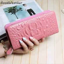 Mode femmes en cuir de portefeuilles designer crocodile véritable porte-cartes en cuir coin poches bourse longues pour femmes portefeuilles pochette