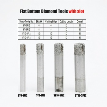 цена на Shank 6-12mm Straight End Mill Router Bit Diamond Cutter for Stone Marble Carving Engraver Machine Slot CNC Milling Cutting Tool