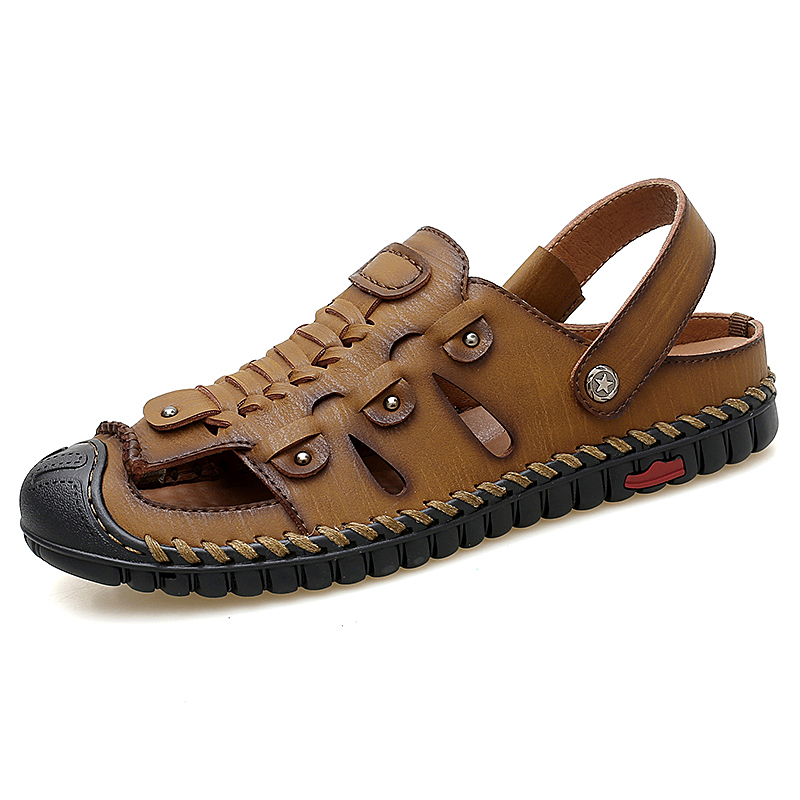 Men/'s Leather Sandal Fisherman Handmade Beach Slippers Flat Summer Shoes Outdoor