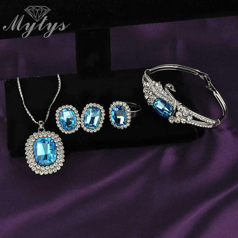 Mytys Blau Kristall Schmuck Sets Silber Farbe Halskette Armband und Ring Sets für Frauen N436