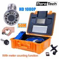 HD1080P 25mm Pipe Drain Sewer Inspection Camera System Pipeline Endoscope Borescope with 50m cable Meter Counter Keyboard DVR H1