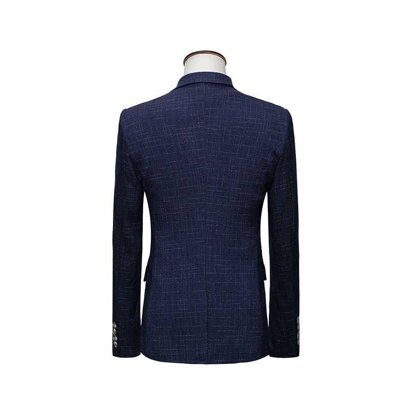 Mogu 3枚男性のウェディングドレス格子縞のスーツ男性2017ファッション格子スリムフィット男性スーツ衣装アジアサイズm-6xlメンズスーツ
