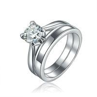Wholesale Fashion Female CZ Diamond Wedding Rings For Women White Gold Jewelry 2 Pcs Ring Sets