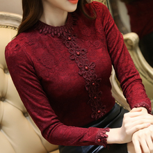 Фотография AutuWinter women blouses Stand Solid Fashion Casual long sleeved lace shirts Elegant Slim Velvet Thick Tops Plus Size Blusas