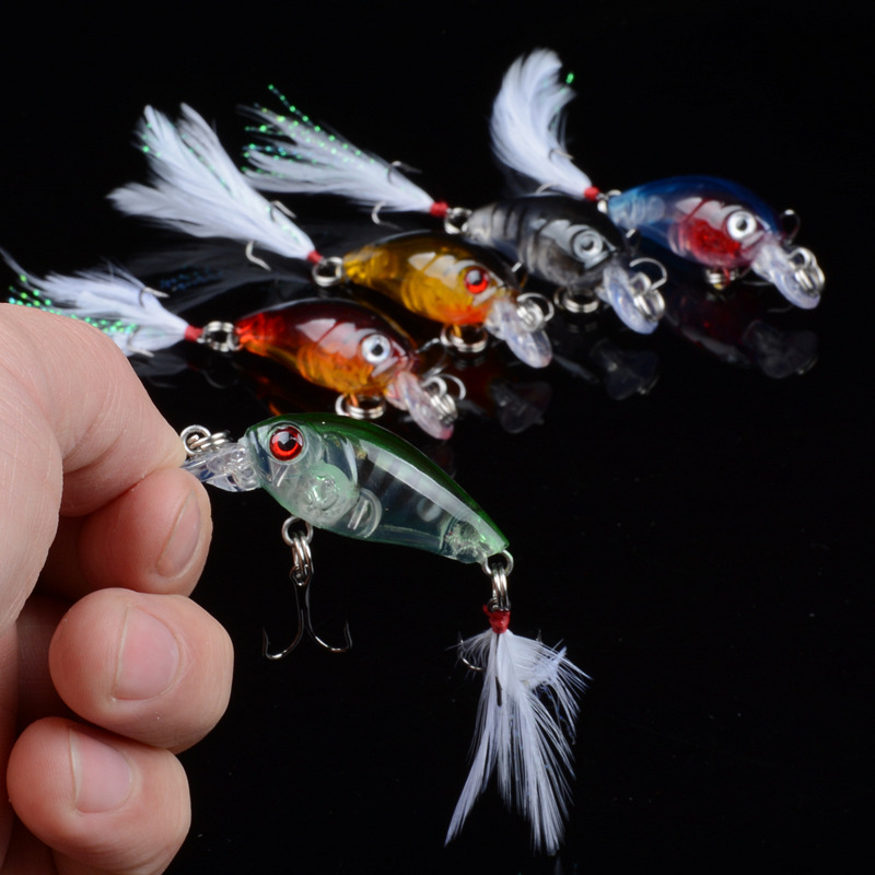 4.5cm 4g Fishing Lures Crank Baits Mini Crankbait 3D Eyes Artificial Lure Bait with Feather Lifelike Fake Lure YE-190 1pcs 9cm 7g hard fishing lures crank bait crankbait 3d eye swimbait wobbler feather minnow lifelike fake lure 10 colour fa 181