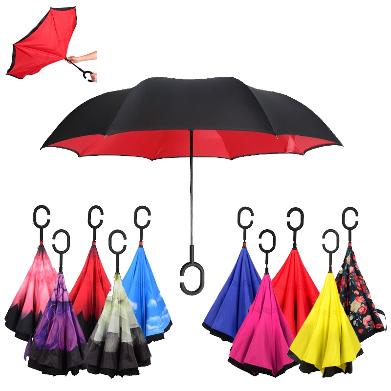 Special Design Double Layer Inverted Umbrella Reverse Rainy Sunny with C-shaped Hands Long Handle Reverse Folding Umbrella