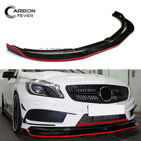 For Mercedes W176 A Class Front Bumper Lip Carbon Fiber Red Line 2012 2015 A180 A200 A250 A45 Sport Edition