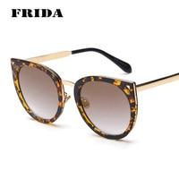 FRIDA Vintage Oversized Cat Eye Sunglasses Women Classic Brand Designer Floral Frame Coating Mirror Reflective Women Eyewear