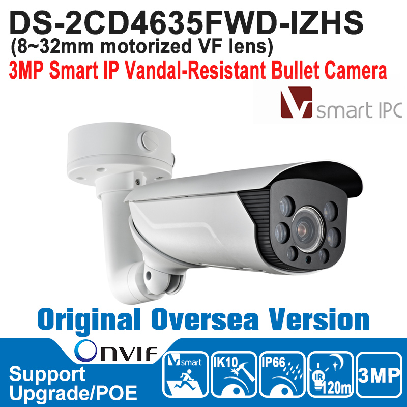 2017 DS-2CD4635FWD-IZHS HIK IP Camera 3MP POE Outdoor 3MP Smart IP Vandal-Resistant Bullet Camera IP66 H.264+/H.264/ MJPEG hik hot ds 2cd6362f iv hik ip camera 6mp poe indoor 6mp network fisheye camera h 264 h 264 mjpeg support microsd sdhc