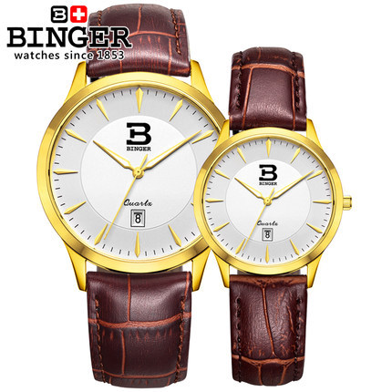 Brand Binger Women Girl's Champagne Dial Lovers Wristwatch Analog Quartz Wrist Watch Waterproof Man Super Thin Couple Watches binger trendy women man steel rhinestone watch luxury brand design cz diamond watches white big dial 200m waterproof wristwatch