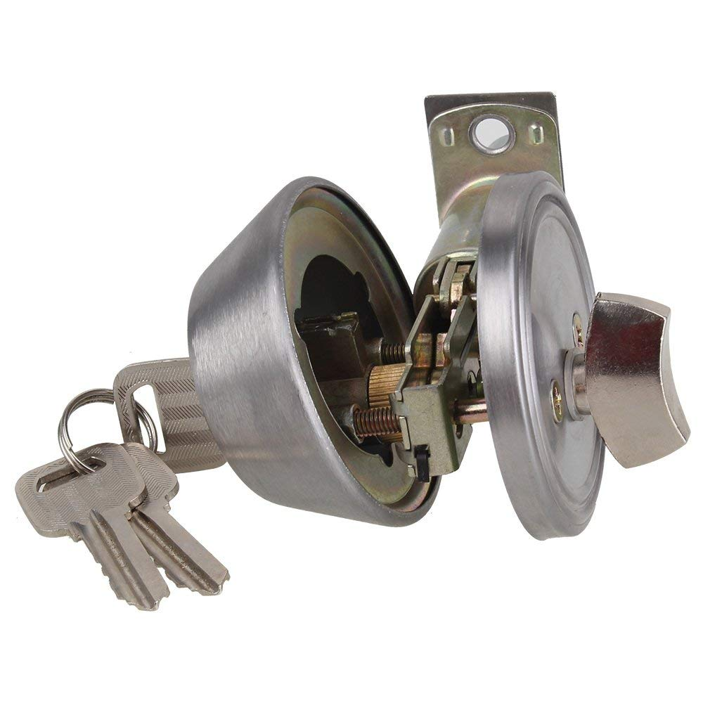 Home Door Gate Single Cylinder Deadbolt Chrome Metal Dead Bolt Door Lock