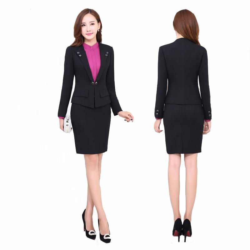 Aliexpress.com : Buy Women Grey Suit 2017 Women Slim Skirt Suit ...