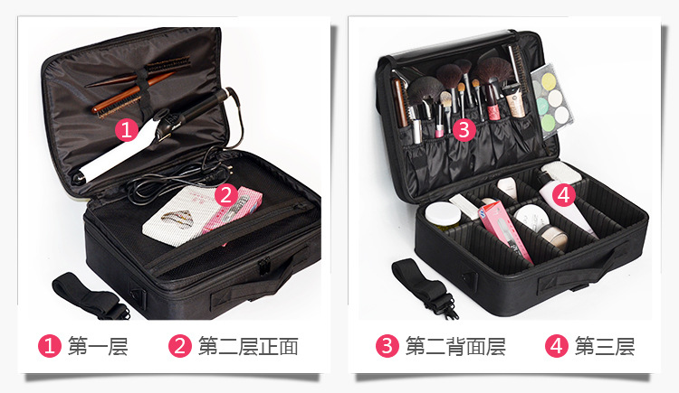 ... Women Travel Cosmetic Storage Organizer Box Bag 3 Layer Professional  Dresser Portable Makeup Artist Nail Tool ... 658c2f7d7ab7f