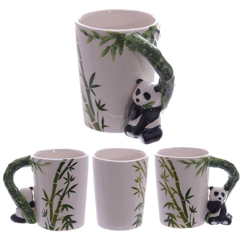 1 Piece 5 Style 12oz Cute Animal Cup Panada Parrot Frog Toucan Giraffe Handle Ceramic Mug With Bamboo Milk Coffee Tea Mug Gift