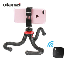 Ulanzi Flexible Octopus Phone Tripod With Metal Phone Holder Adapter Mount Bluetooth Remote Control for iPhone Smartphone Gopro