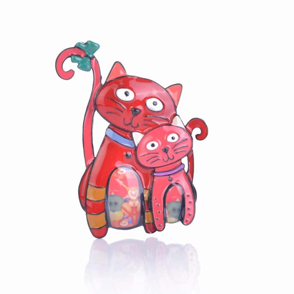 Yeni varış 2018 moda karikatür emaye pimleri kedi broş Pin rozetleri sevimli Metal hayvan kadınlar için broşlar iğneler