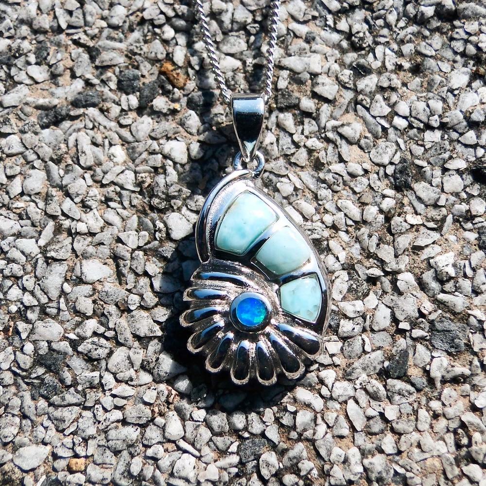 Fine Jewelry 925 Sterling Silver Pendant,Snail Conch Shape Nature Larimar Gemstone Pendant for Woman,Blue Fire Opal Charm