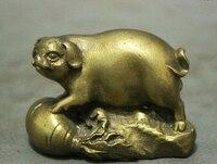 Nabo Ano Porco Zodíaco chinês Bronze FengShui Riqueza Cobre Arte Estátua Estatueta|figurine dog|figurine bear|figurine painting -