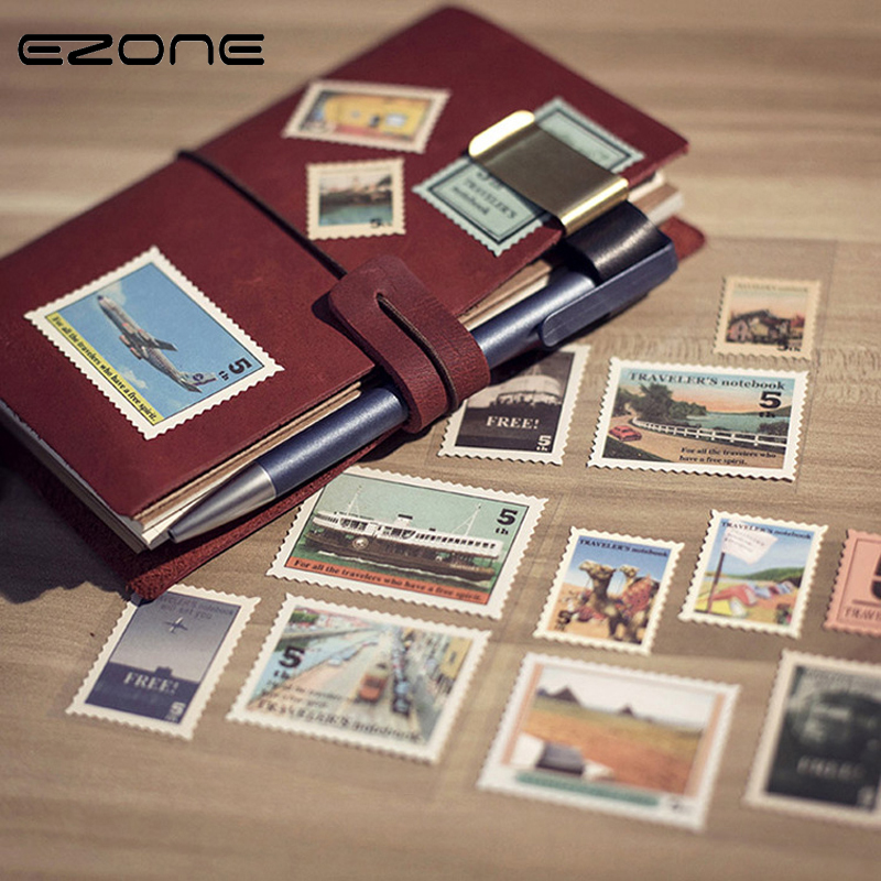 EZONE Vintage Stamp Sticker Printed Cool Plain/Train/House/Text Stickers For Home Decoration Scrapbooking Diary Office Supply ...
