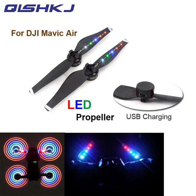 New arrival 2 pair DJI Mavic Air propellers With LED Charging Flash USB Charger Propellers  For  Mavic air drone Accessories