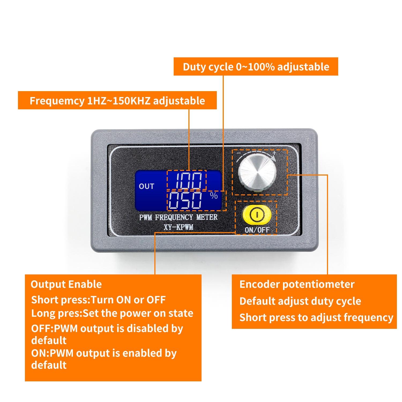 XY-PWM אות גנרטור 1-ערוץ 1Hz-150KHz PWM דופק מחזור תדר מתכוונן מודול LCD תצוגה