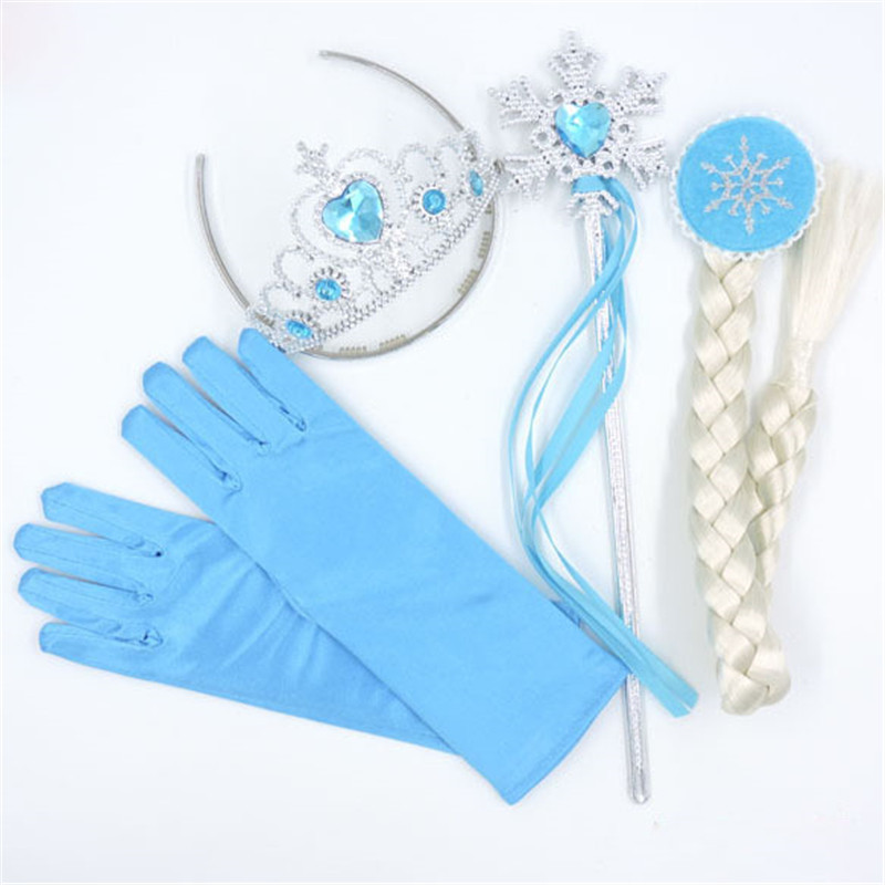6 Styles Elsa Anna Cosplay toy Princess Accessories Crown Gloves Braid Wig Magic Wand Figure Girl Christmas present 4Pcs/set