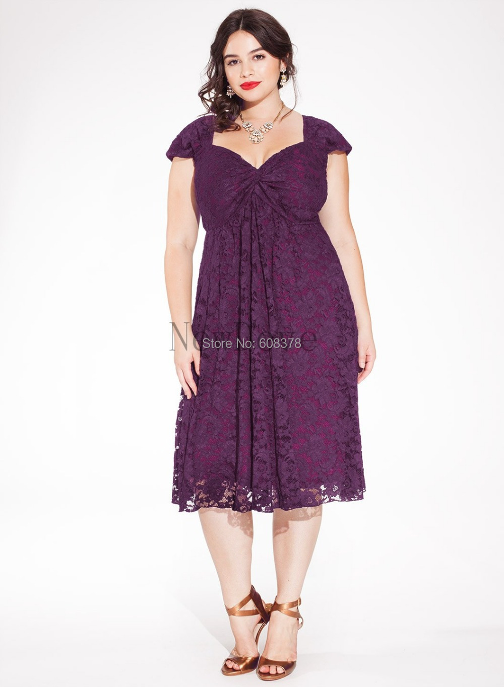 Freeshipping exquisite purple short cap sleeve lace tea for Plus size dresses weddings and proms