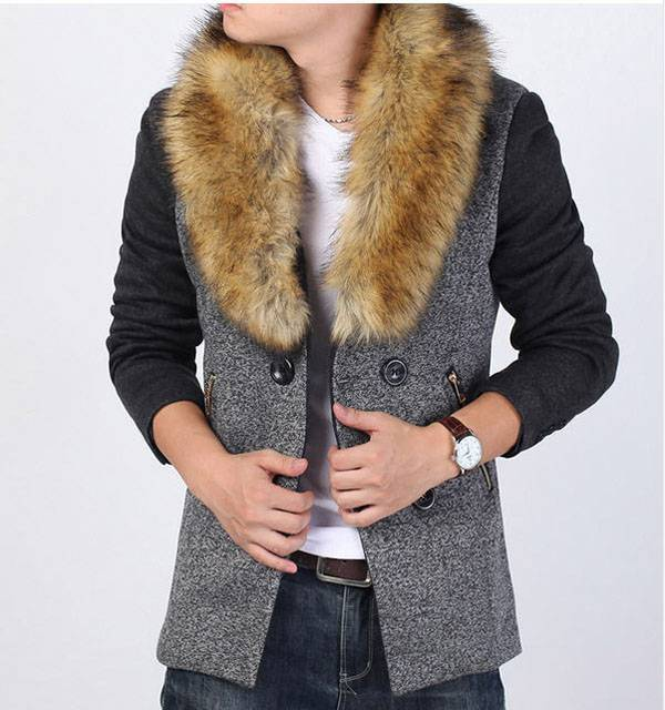 Winter men s cashmere coat long section thick fur collar business casual man woolen coat outwear