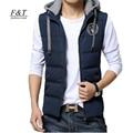 Autumn Winter Cotton Wadded Men Vest Slim Male Embroidery Hoodies Vest Coat Snow Outwear Plus Size Casual Vests
