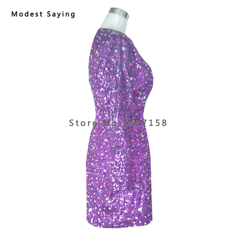 Sexy V Neck Purple Long Sleeves Rhinestone Mini Cocktail Dresses ...