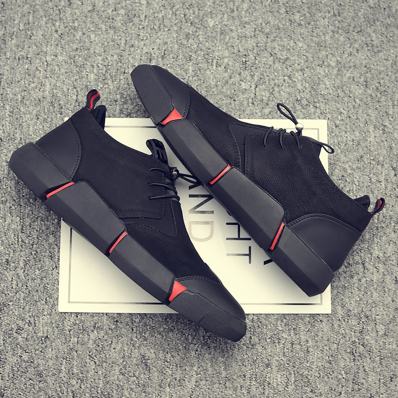 Black Cool Autumn Shoes Men 2018 Fashion PU Leather Breathable Wear resistant Casual Shoes for Male Sepatu Pria Size 37 45 in Men 39 s Casual Shoes from Shoes