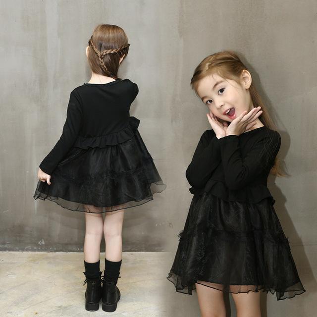 Algodão meninas longo-vestido de mangas compridas 2016 inverno meninas do laço da cintura das crianças crianças princesa roupas vestido preto robe hiver fille