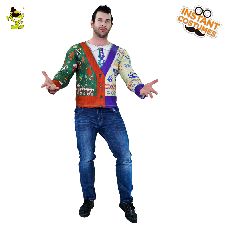Adult Men's 3D Digital Printing T-Shirt With A Buckle Fancy Dress For Party Cosplay Happy Christmas Sweater Costumes