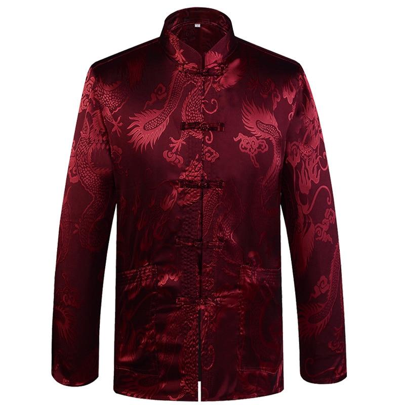 Brand Designer Chinese Traditional Men's Satin Mandarin Collar Dragon Silk Tang Suit Clothing Kung Fu Jacket Coat YZT1205