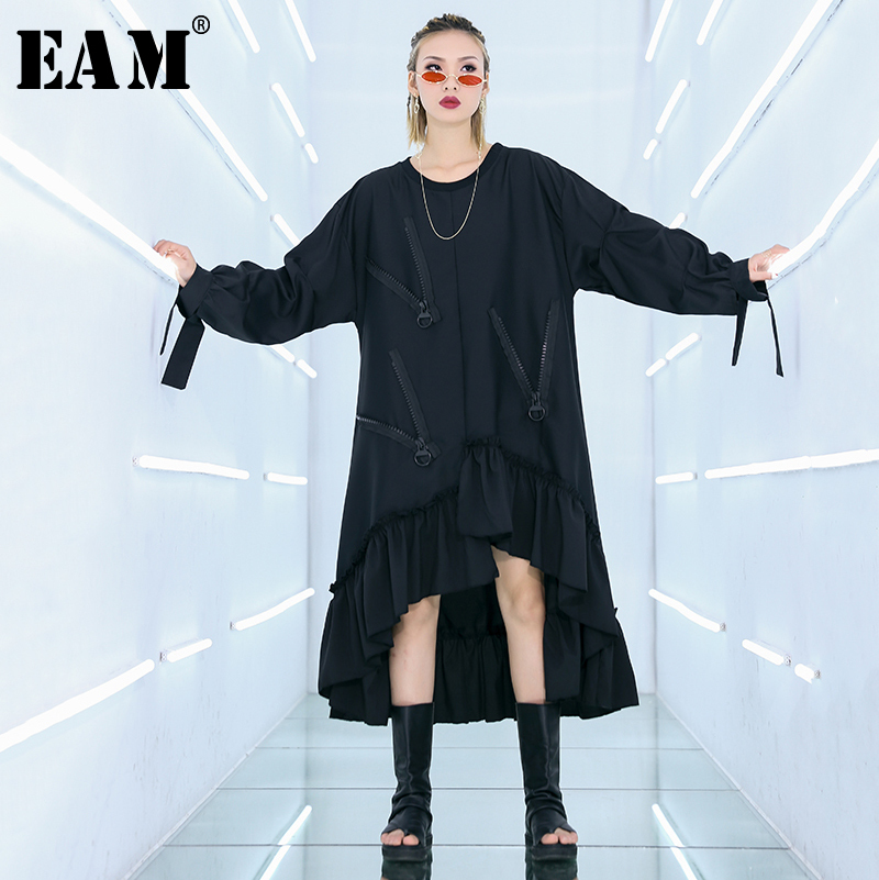 EAM 2019 New Spring Summer Round Neck Long Sleeve Black Loose Big Size Irregular Ruffles