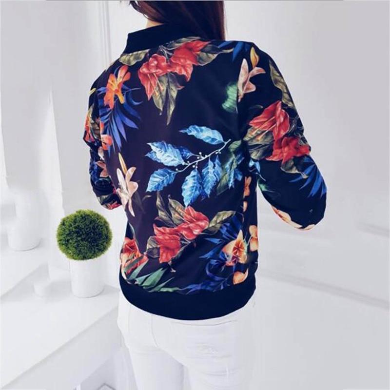 Women Jackets Flower Floral Print Retro Ladies Zipper Up Short Thin Slim Bomber Jacket Coats Fashion Basic Casual Outerwear