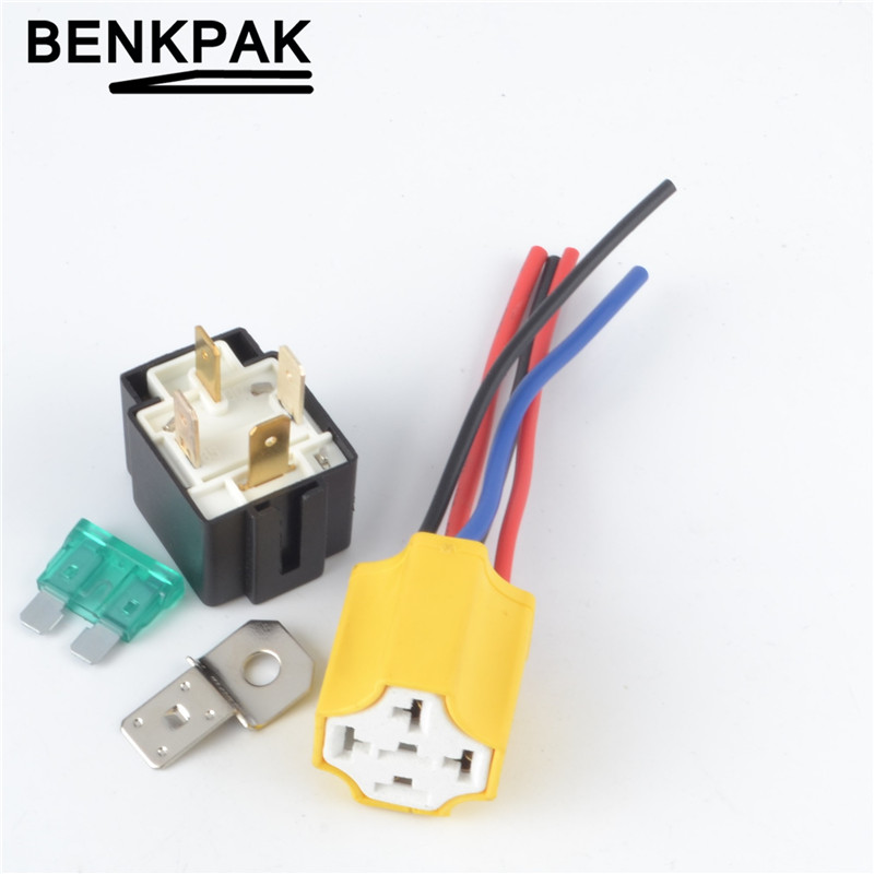 1set Auto Relay With Fuse 12VDC 4 Pin 30A  + Quality Ceramic Type Socket