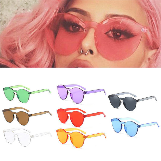 3a0f11a99 2018 Hot New One Piece Lens Sunglasses Women Transparent Plastic Glasses  Men Style Sun Glasses Clear Candy Color Brand Designer