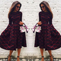 Casual fashion women autumn summer waisted o neck print dress Elegant evening party mid-calf dresses 2017 new woman vestidos