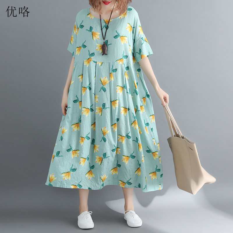 Women <font><b>Plus</b></font> <font><b>Size</b></font> Sundress 4XL 5XL 6XL 7XL <font><b>8XL</b></font> Summer Fashion Big Swing Floral Printed Cotton <font><b>Dress</b></font> Casual Loose Long <font><b>Dresses</b></font> 2019 image