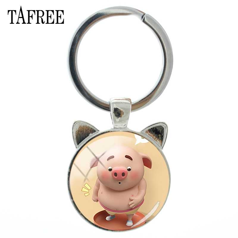 Tafree moda adorável porco tempo gem chaveiro feminino jóias antigo prata gato orelha chaveiro pingente chaveiro pg52