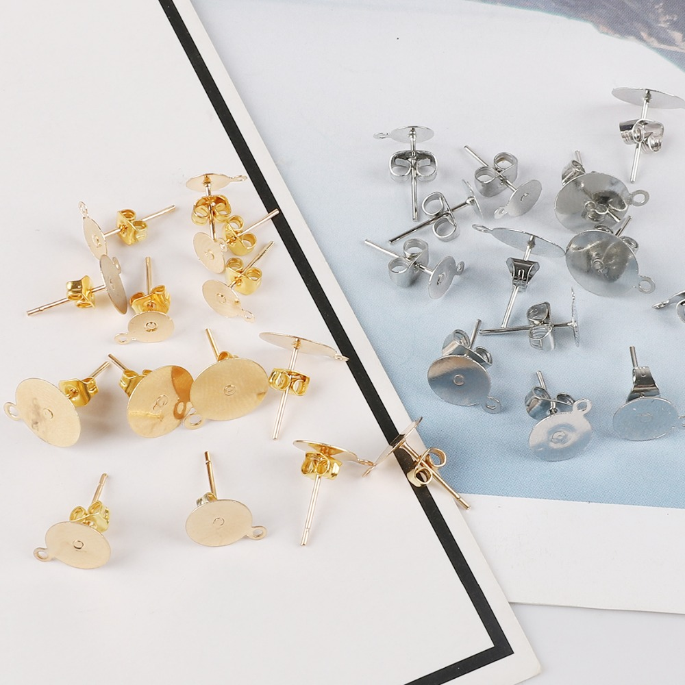 Earring Pin Pierce Post Stud Back Lock Blank Findings DIY Jewelry Making Supply