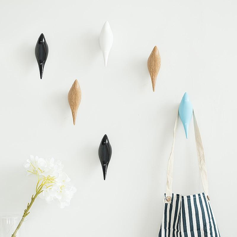 Creative wall hooks bird decoration Resin wood grain hooks bedroom door  after animals Hooks 3D coat