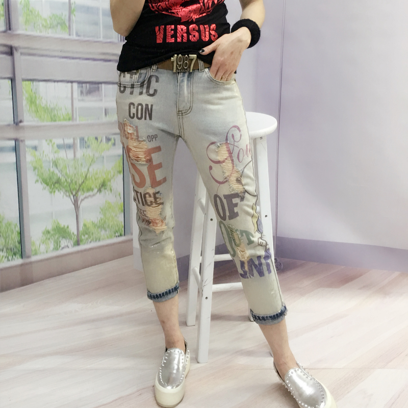 European Station 2017 Summer New Letters Stretch Bronzing Printing Letter Cartoon Female Fashion   Jeans