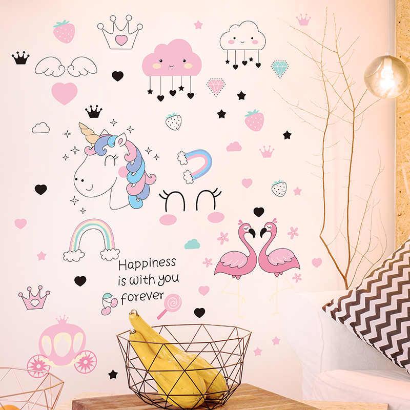 [[Shijuekongjian]] Hoạt Hình Kỳ Lân Hồng Hạc Dán Tường Vinyl Tự Làm Tường Động Vật Tường Cho Trẻ Em Phòng Bé Trang Trí Phòng Ngủ