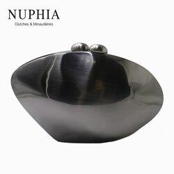 Nuphia concha garras caixa de metal embreagem festa bolsa e noite sacos de embreagem para festa de formatura feminino bronze prata preto ouro