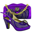 Elegant Purple 2016 very nice italian matching shoes and bag set ladies shoes and bag to match for nigerian wedding For MM1018