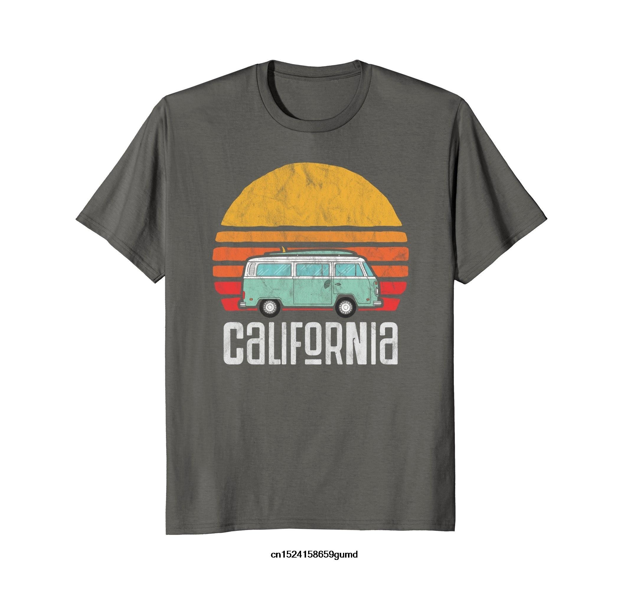 Funny Men T Shirt Women Novelty Tshirt Retro California Hippie Van Beach Bum Surfer T-Shirt