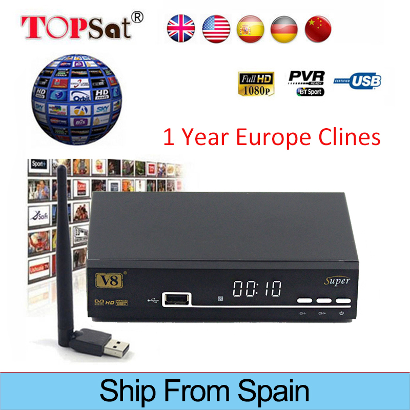 FREESAT V8 SUPER FTA Satellite Receiver HD Receptor DVB-S2 set-top TV box support 1 Year 5 CLINES Europe CCCAMD Server original freesat v8 golden satellite receiver dvb s2 t2 c powervu iptv box cccamd newcamd youtube youporn replace v8 pro